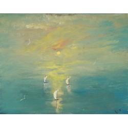 Boats Sailing Before Sunset